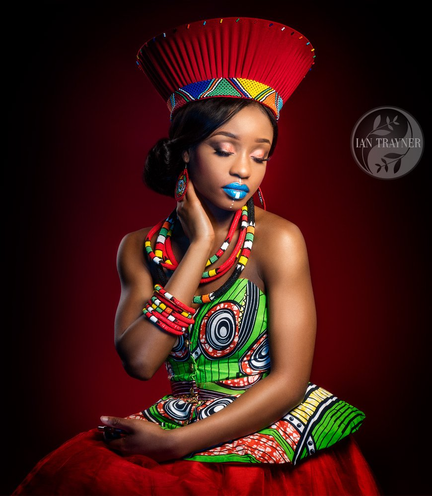 Vibrant African fashion image. Model experience photo shoot. Yollanda Musa.