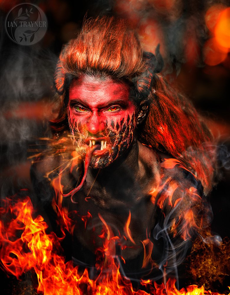 """Fire Demon"" composite artistic photography by Ian Trayner"