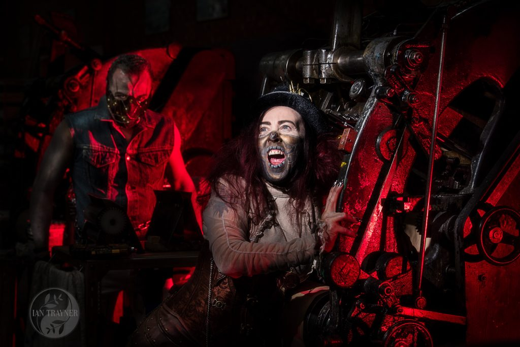 """Man eating machine with psychopath"" fantasy photography by Ian Trayner"