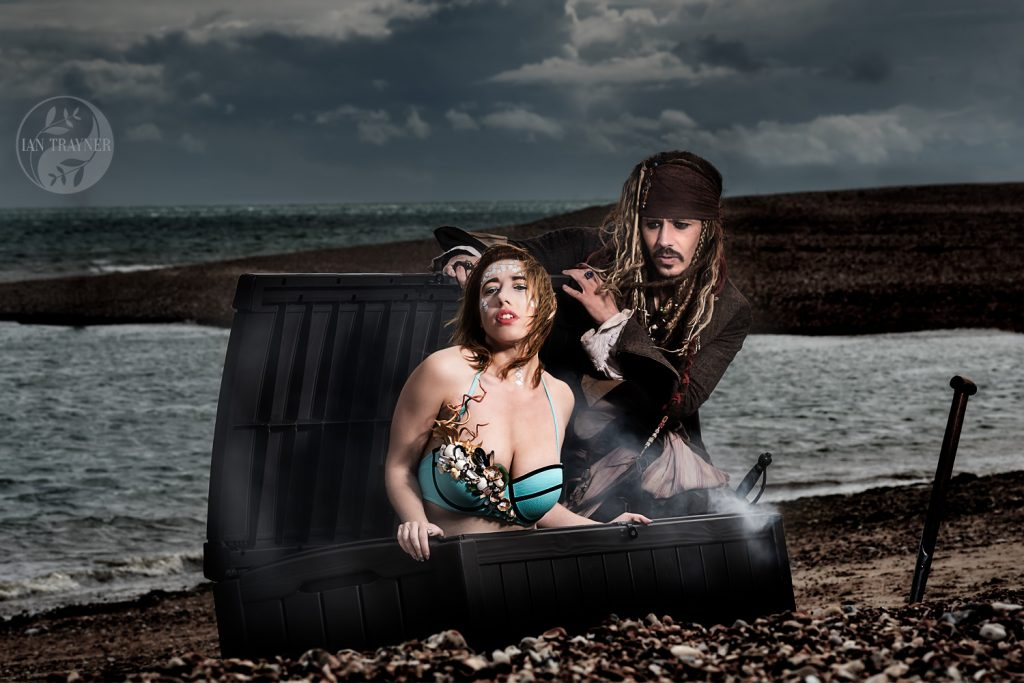 Captain Jack Sparrow lookalike Simon Newton in cosplay location photo shoot
