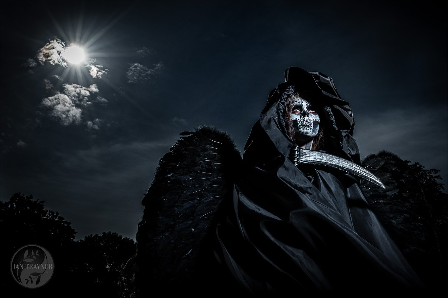 "Fantasy and cosplay photography. Charlie Matthews as ""Death walks under the moon"". Photo by Ian Trayner"
