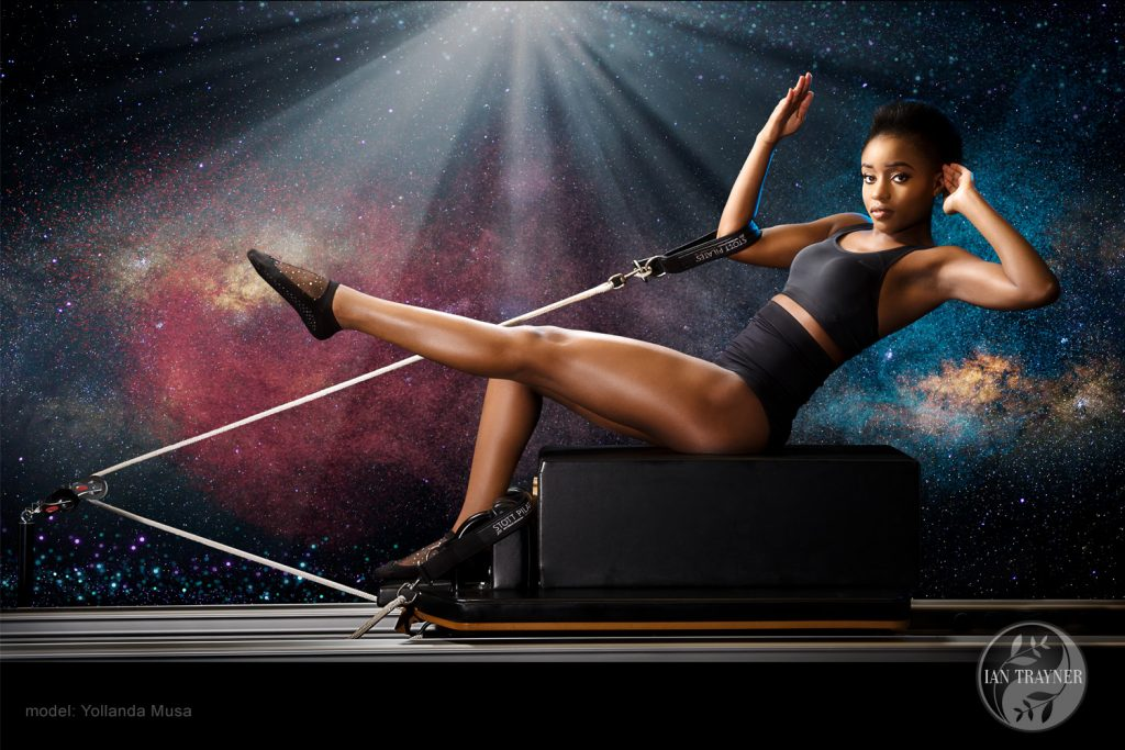 "Yollanda Musa in ""cosmic pilates"" series of photographic wall art, photography by Ian Trayner"