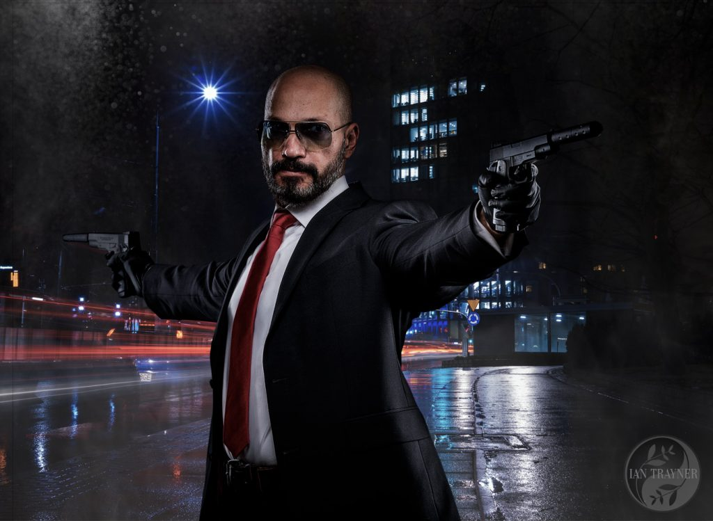 """Hitman"" inspired photographic composite, with actor Kevin Mangar. Photography by Ian Trayner."