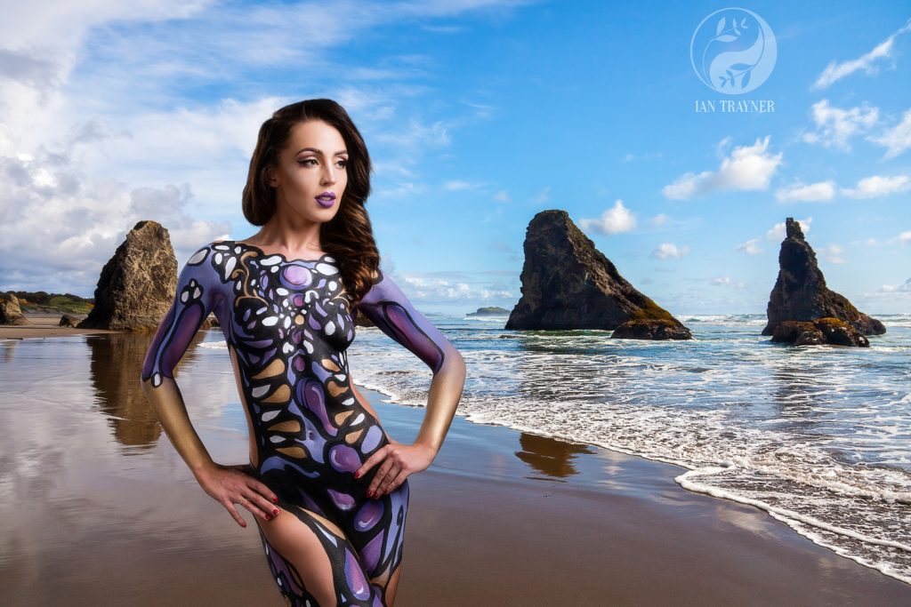 body painting by SyFer, fantasy photography composite