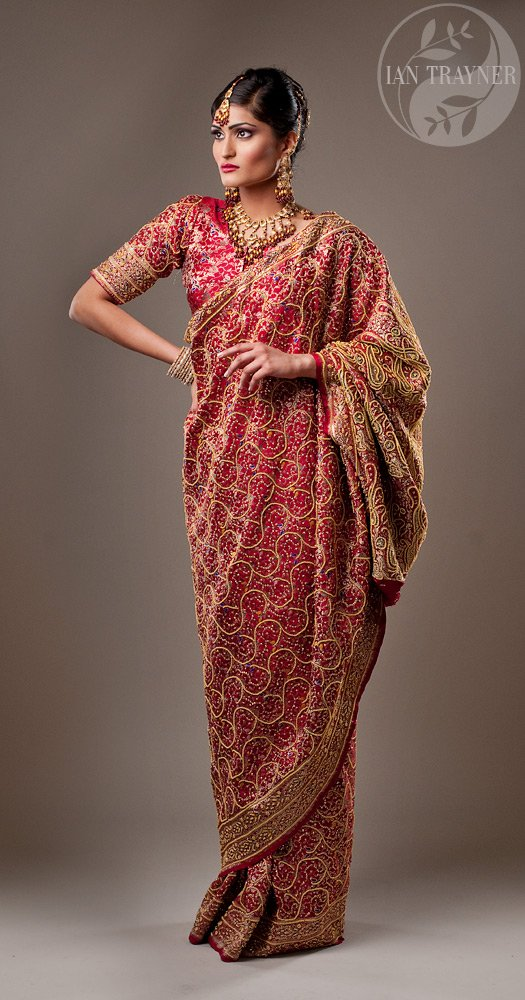 Commercial fashion photography in Kingston upon Thames, Surrey. Model wearing a saree.