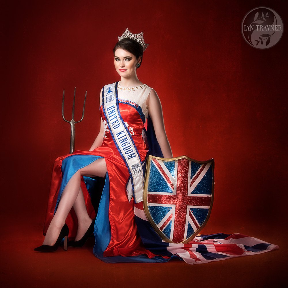 """Miss Pure United Kingdom 2018"" beauty queen Rosemary Lloyd as ""Britannia"". Photographed by fashion photogher Ian Trayner in his studio in Kingston upon Thames."