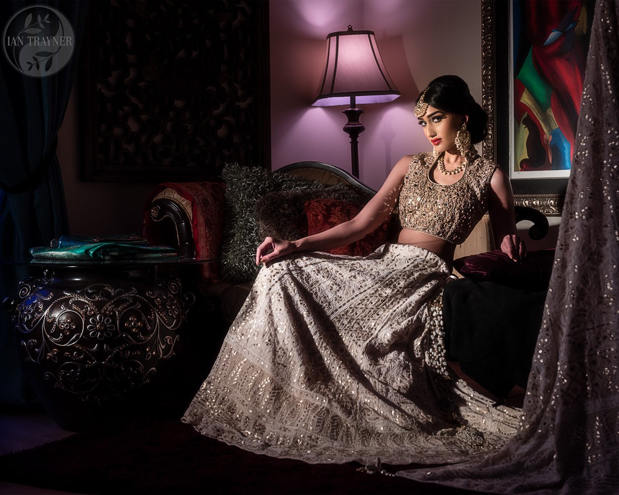 Commercial asian bridal fashion photography by Ian Trayner. Photo shoot was in the client's home.