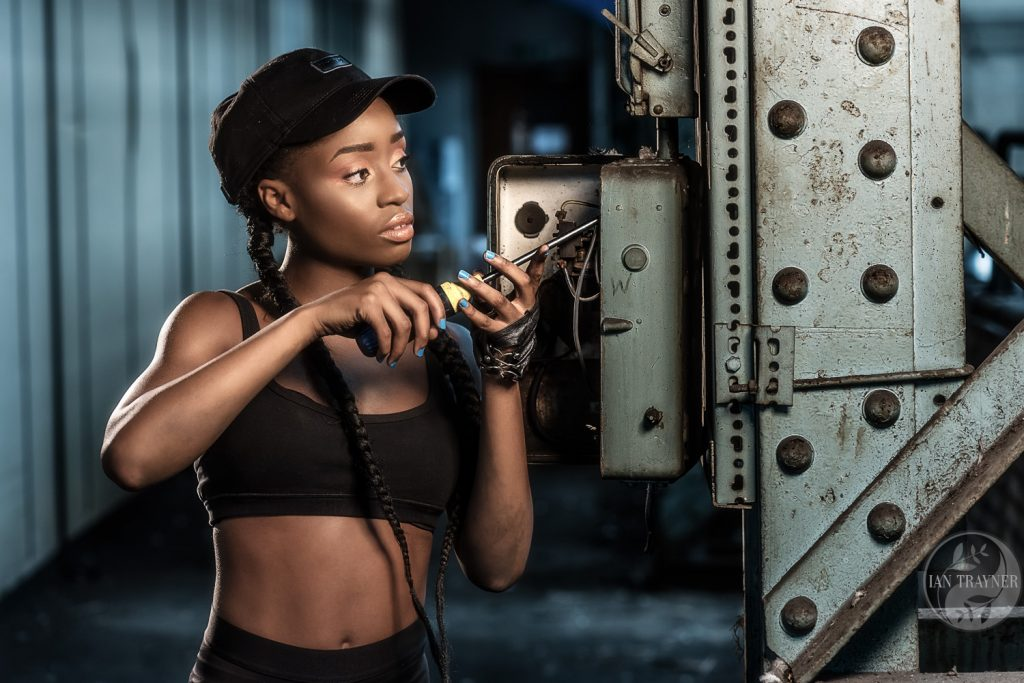 Yolland Musa. Beautiful black fitness model in location photo shoot. Image by Ian Trayner, fashion photographer.