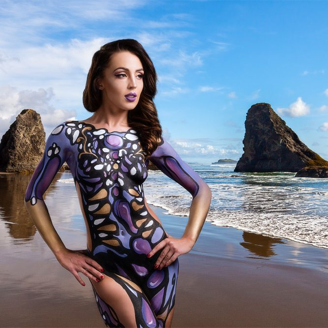 body painting and compositing photograph