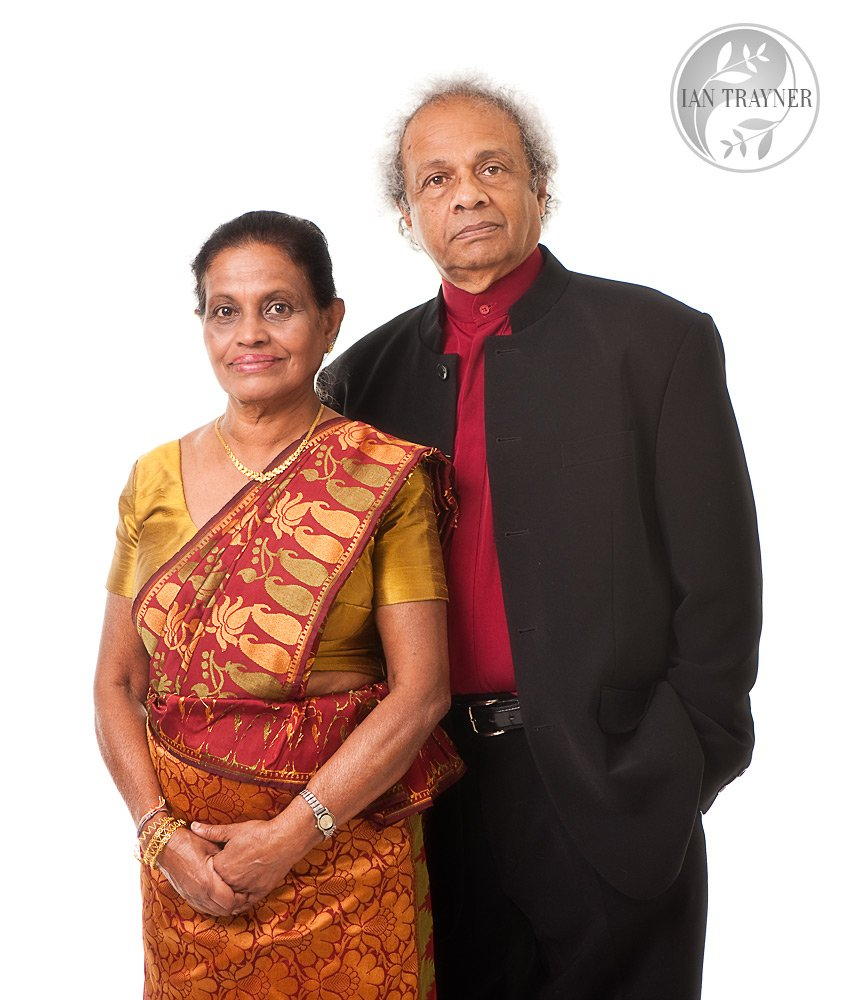 Elegant and dignified formal portrait of a happily married mature couple