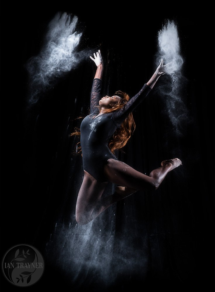 Creative and artistic photo portraits by Ian Trayner. Beautiful black athlete flour dance""