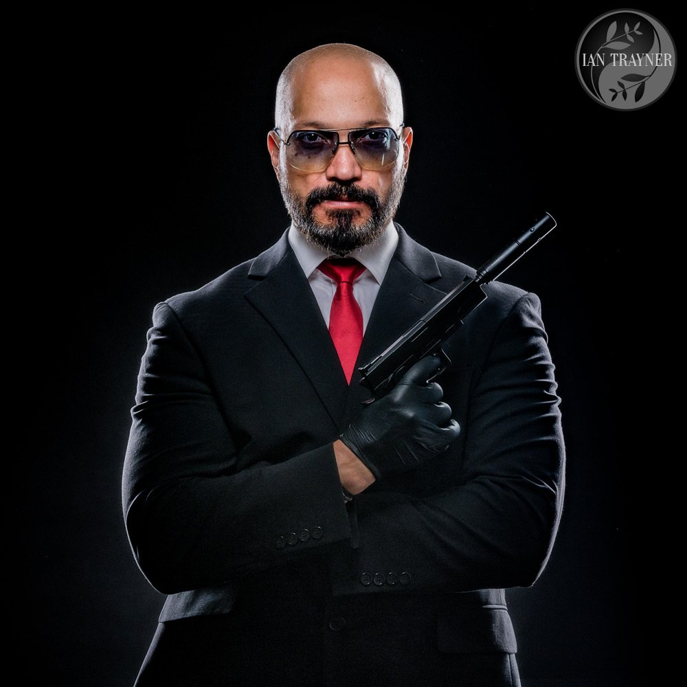 "Actor Kevin Mangar in ""Hitman"" inspired photo shoot in my studio in Kingston upon Thames."