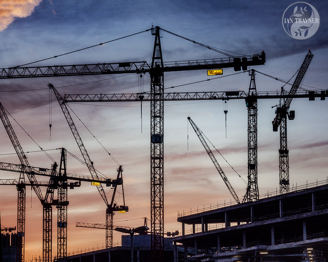 """Dancing cranes"". Photo by Ian Trayner during construction of the Westield London shopping centre. 2007."