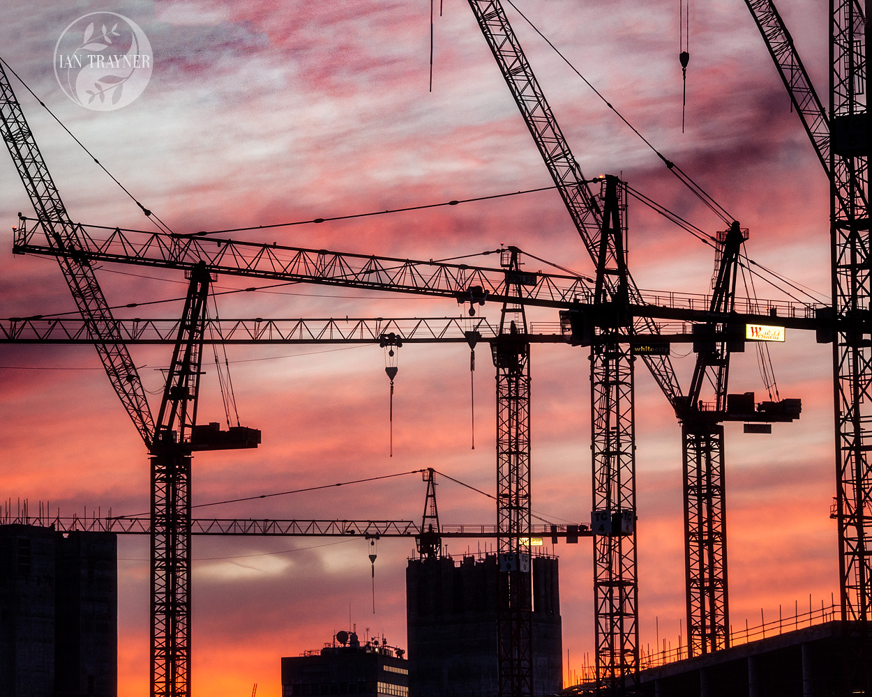 Detail of cranes during construction of the Westfield London shopping centre in Shepherd's Bush, London, in 2007. Photo by Ian Trayner.