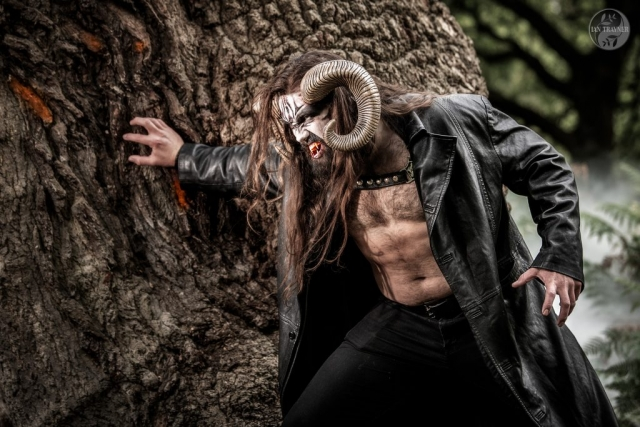 William Newton as horned beast.  Photo by Ian Trayner, photographer in Kingston, Surrey