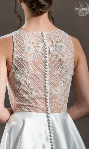 """""""Flora"""" bridal gown by Shamali, from her """"Divine"""" collection 2021. Detail. Photo by Ian Trayner"""
